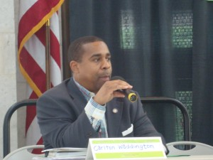 State Rep. Carlton Weddington (D-27) answers a question during the legislative panel.